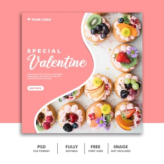 Social media post instagram valentine banner, food pink