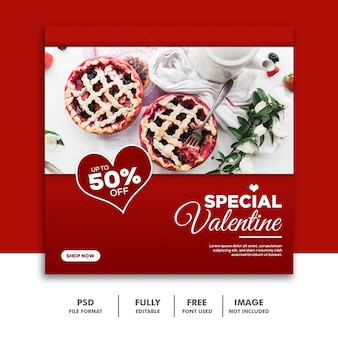 Social media post instagram valentine banner, food red