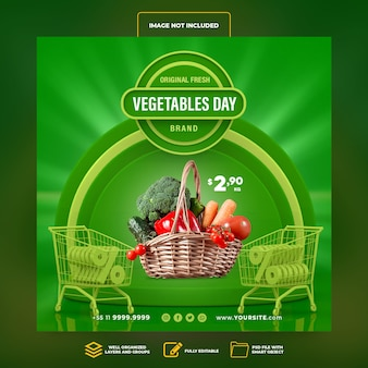 Social media post instagram vegetables day supermarket 3d render