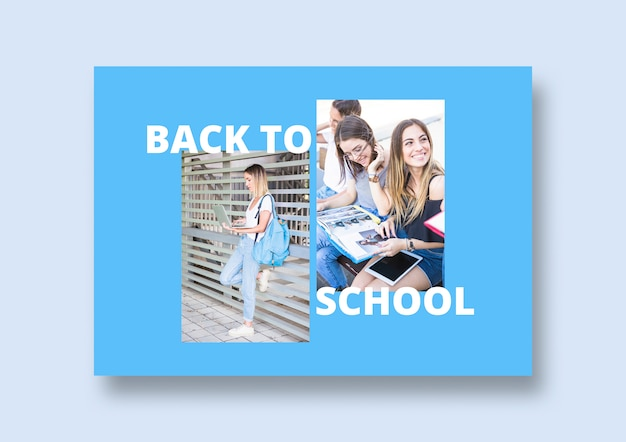 Social media post mockup with back to school concept