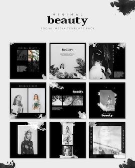 Social media post mockup with beauty concept
