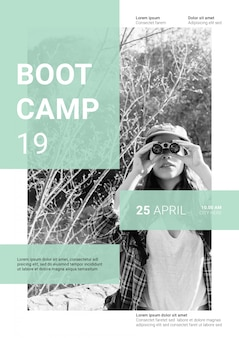 Social media post mockup with boot camp concept