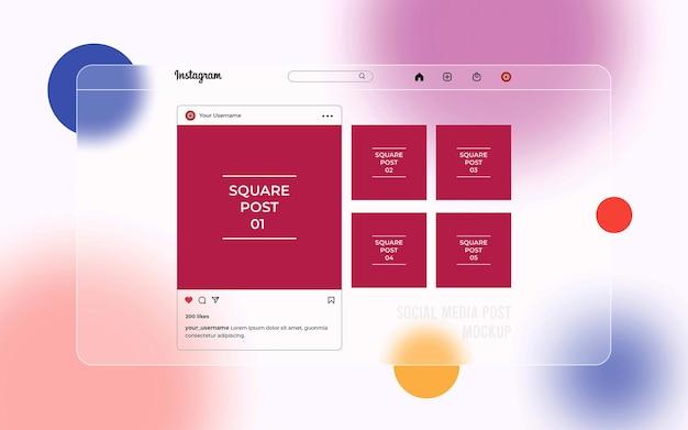Макет публикации в социальных сетях с интерфейсом glassmorphism instagram