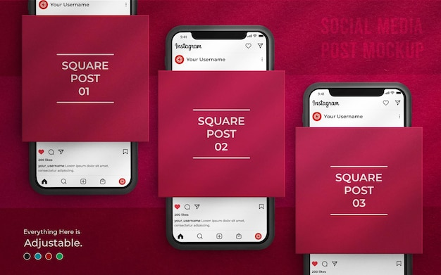 인스 타 그램 인터페이스 및 3d 렌더링 전화가있는 소셜 미디어 게시물 모형