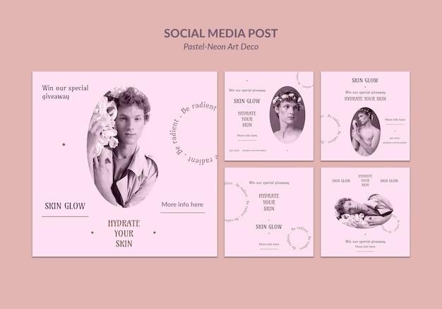 소셜 미디어 포스트 파스텔 네오 아트 디자인 템플릿