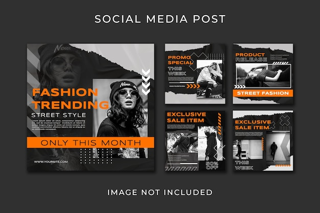 Social media post set urban style template