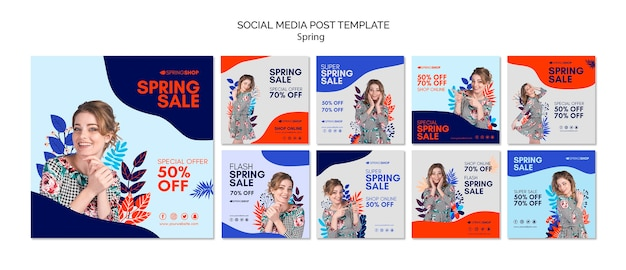 Social media post spring sale with woman and leaves