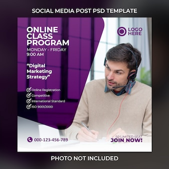 Social media post or square banner template in purple color concept