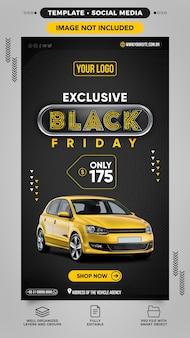 Social media post stories on black friday car sales
