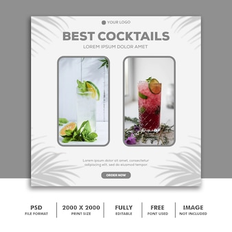Social media post template about best cocktails