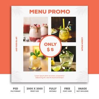 Social media post template about menu promo