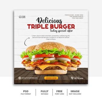 Social media post template banner for restaurant fastfood menu burger