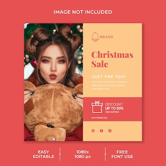 Social media post template for christmas discount