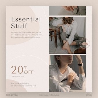 Social media post template collection instagram essential stuff catalogue fashion with aesthetic shape and line