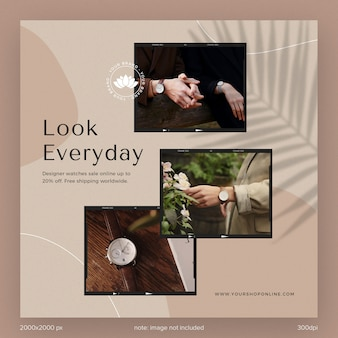 Social media post template collection instagram fashion catalogue ads for brand with leaves shadow and aesthetic shape line
