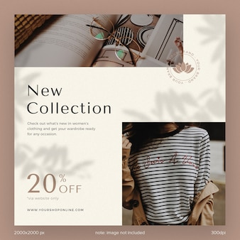 Social media post template collection instagram new collection catalogue fashion basic with leaves shadow aesthetic brown