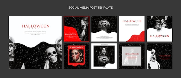 Social media post template compilation for halloween