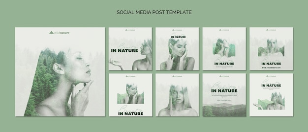 Social media post template concept with wild nature