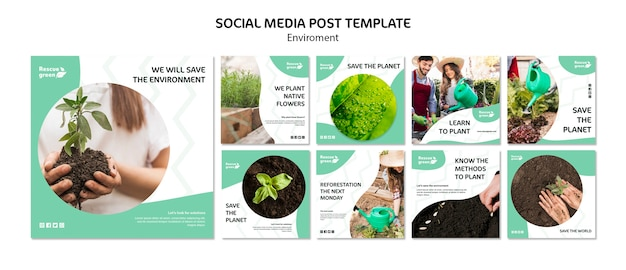 Social media post template design with environment