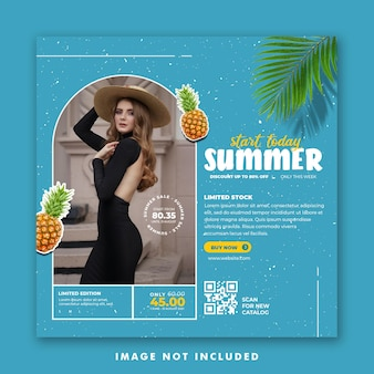Social media post template for fashion summer