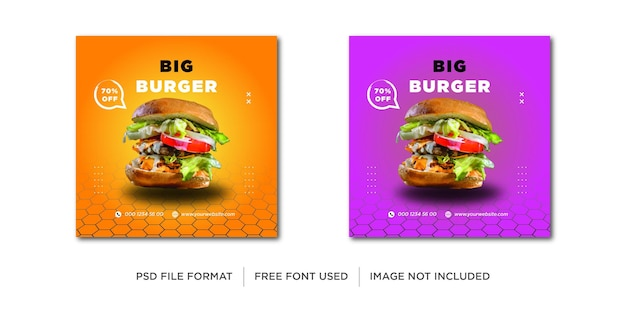 Social media post template flyers for menu