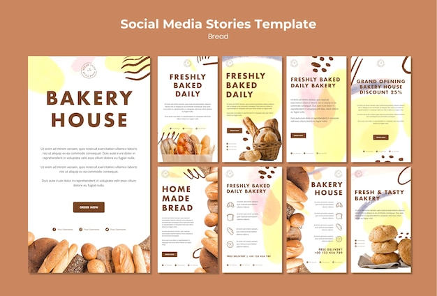 Social media post template freshly baked daily bakery