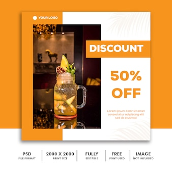 Social media post template instagram, drink food orange elegant discount