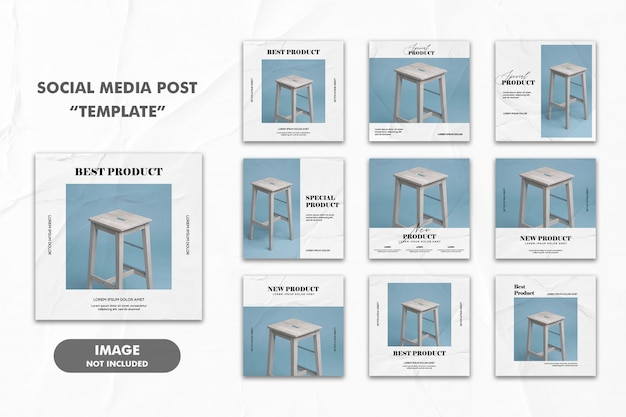 Social media post template instagram, furniture chair blue glued