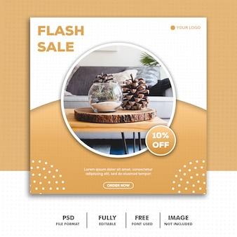 Social media post template instagram, furniture gold luxury elegant sale