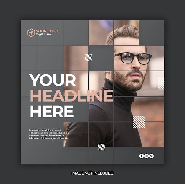 Social media post template or square web banner template