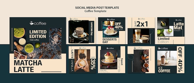 Social media post template theme with coffee