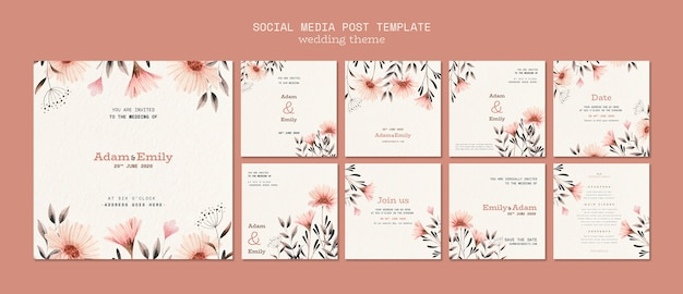 Social media post template for wedding