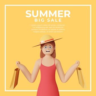 여름 판매를위한 3d 여성 캐릭터가있는 소셜 미디어 게시물 템플릿