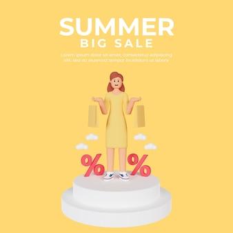 여름 판매를위한 3d 여성 캐릭터와 소셜 미디어 게시물 템플릿