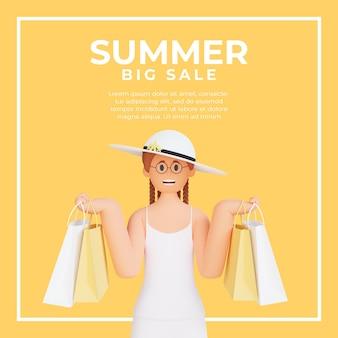 夏のセールのための買い物袋を保持している3d女性キャラクターとソーシャルメディアの投稿テンプレート