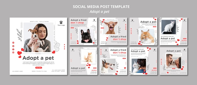 Social media post template with adopt pet