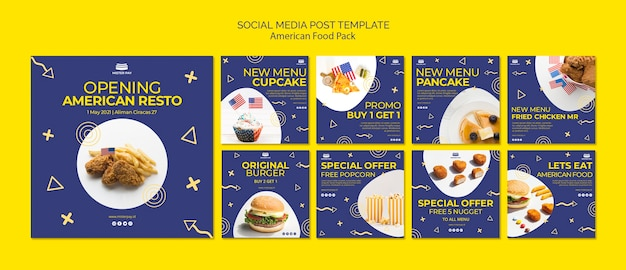 Social media post template with american food