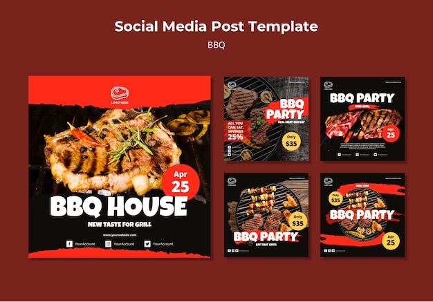 Social media post template with barbeque