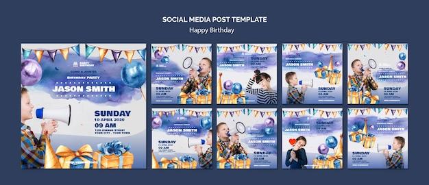 Modello di post social media con festa di compleanno