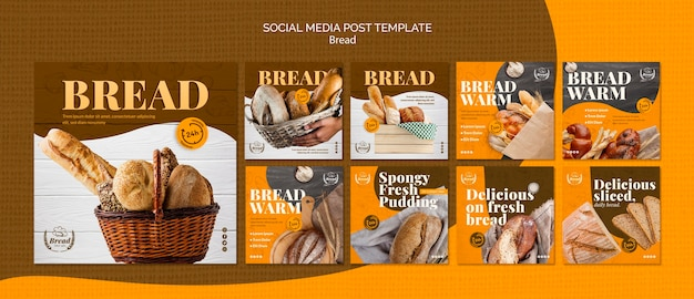 Social media post template with bread