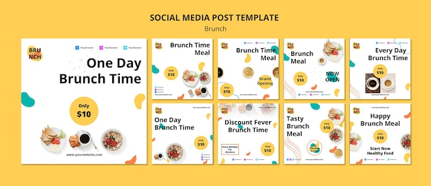 Social media post template with brunch concept