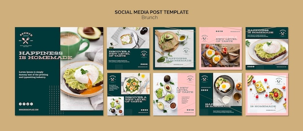 Social media post template with brunch