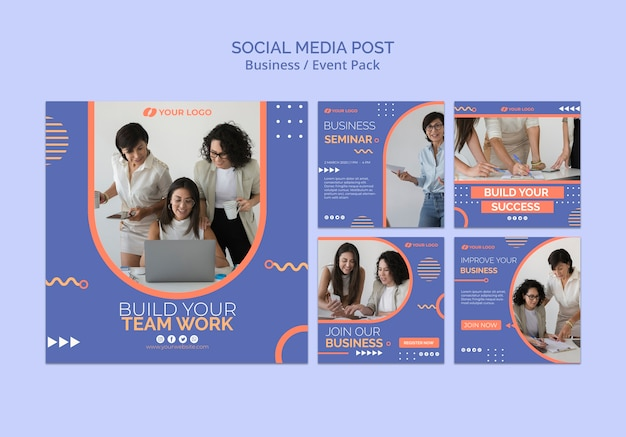 Social media post template with business event concept