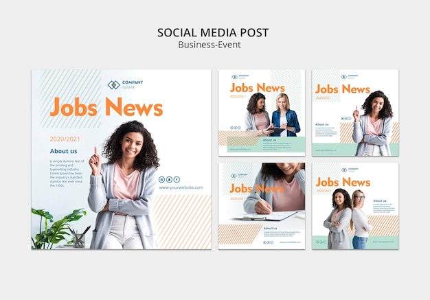 Social media post template with business woman concept