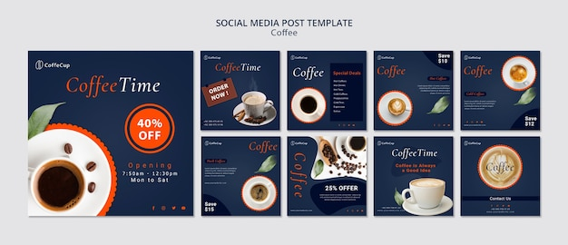 Social media post template with coffee