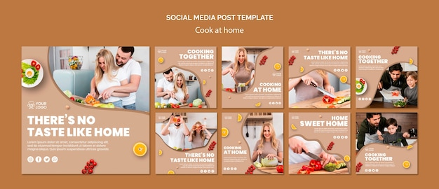 Social media post template with cooking