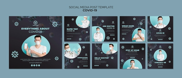Social media post template with covid 19