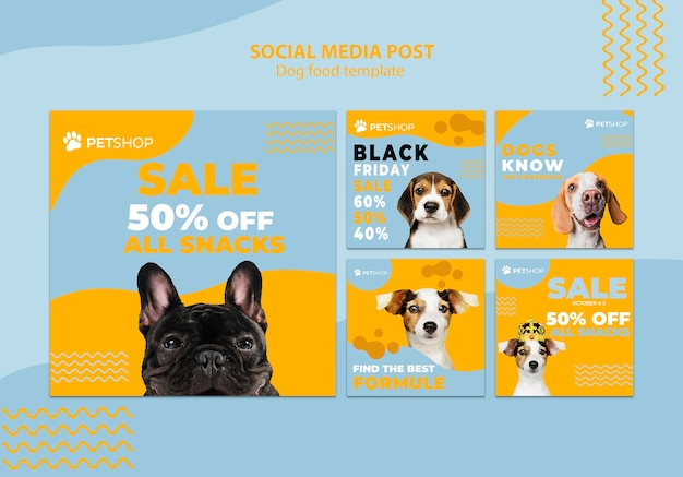 Social media post template with dog food