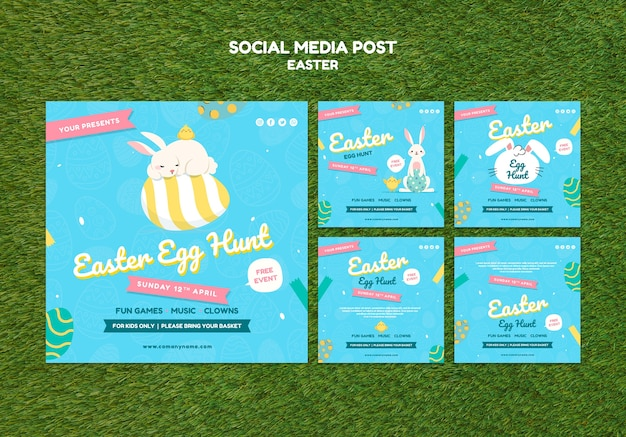 Social media post template with easter day