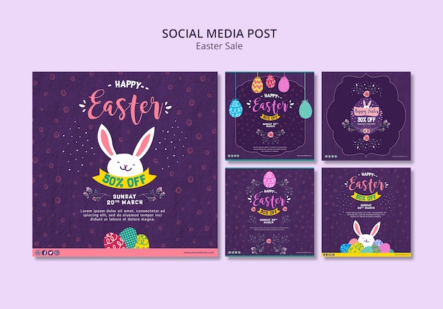Social media post template with easter sales